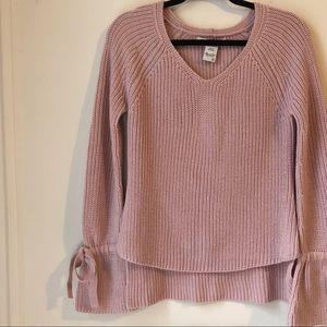 American Rag Pink V-Neck Tie Sleeve Sweater